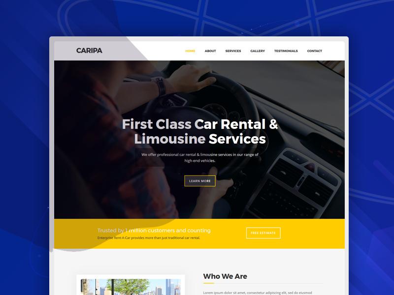 Caripa – Car Rental Website Template automobile transportation texi rent rental script car booking car rent ambulance rent bike repair care repair car freebie free