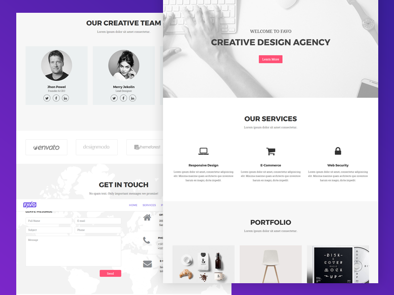 Favo – Creative Portfolio Template shot freebie modern onepage company creative agency corporate bussiness agency trending design portfolio