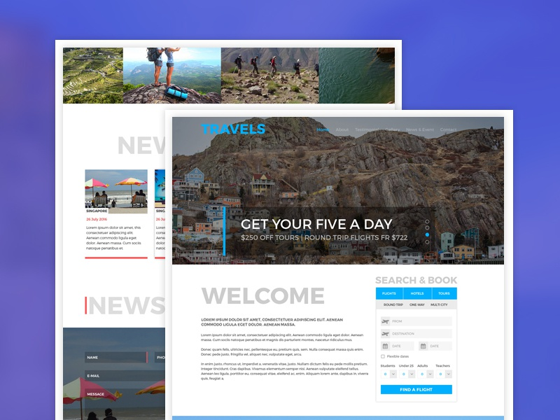 Tour, Travel & Travel Agency Free PSD Template free psd freebie free hotel booking resort holiday flight trabble tour booking travel agency