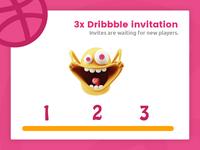 3x Dribbble Invitation
