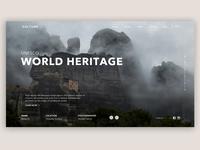 Unesco World Heritage site adobe xd attraction trip rock monastery web design web gallery nature tourism ui  ux ui greece fog travelling travel meteora website site unesco