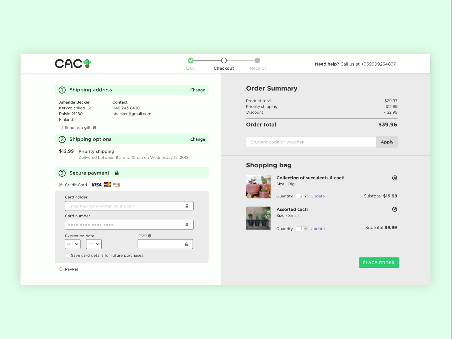 Daily UI #002 - Checkout gotham adobe xd credit card cart shop cacti cactus 002 challenge ui dailyui ecommerce shopping bag price order shipping payment checkout page checkout