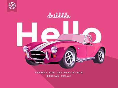 Hello Dribbble! hello first shot pink cobra cobra sportcar cabrio illustration car