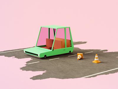 Low lopy car on the road lowpolycar lowpoly3d lowpolyart car blender cute lowpoly green pink color clean 3d artist render 3d art 3d illustration