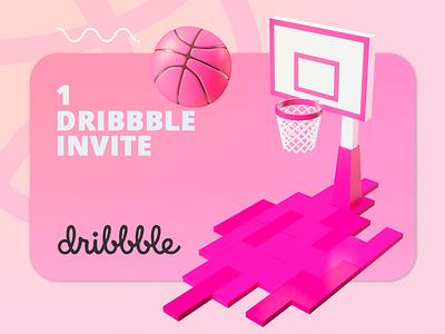 Get Invite dribbble invite dribbble invite color clean 3d artist render 3d art art 3d graphic design design illustration