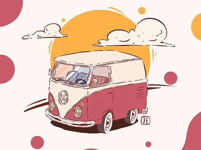 Vintage Kombi drawing draw cartoon vintage kombi color clean graphic design design illustration