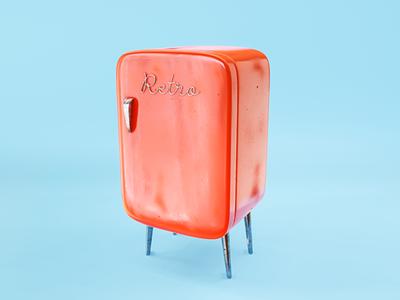Retro Freezer blender3d blender clean color 3d artist render 3d art 3d graphic design design
