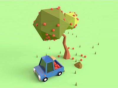 Low poly car fruits tree car 3d artist 3d art 3d art illustration graphic design design