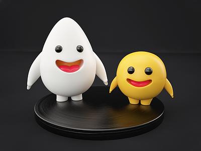 Friends! characterdesign character render friens eggs 3d artist 3d art 3d art illustration graphic design design