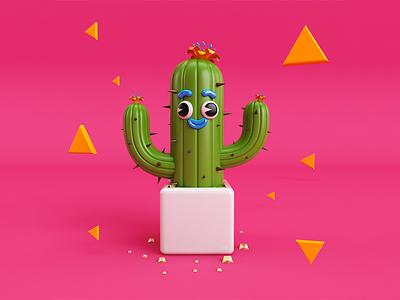 Cool Cactus! colorful render 3d render cactus pink color 3d artist 3d art character art 3d illustration graphic design design