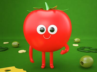 Mister tomato! character 3d character design 3d render render pizza tomato 3d artist 3d art character art 3d illustration graphic design design