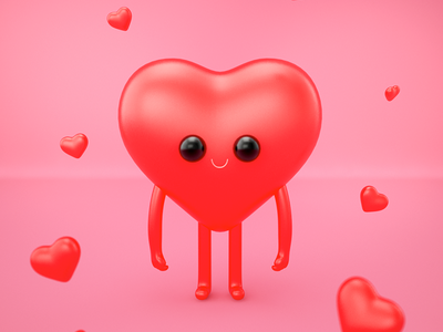 Cool Heart 3d character illustration 3d cute cool love heart color character design cartoon clean render character 3d artist 3d art 3d art illustration graphic design design