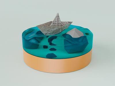 Paper Boat concepit art concept blender render cute blender paper boat sea boat clean render 3d artist 3d art 3d art illustration graphic design design