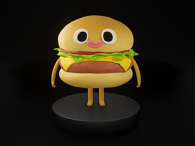 Cartoon Burger cartoon character blender 3d blender3d blender cute character render 3d artist 3d art art 3d illustration graphic design design