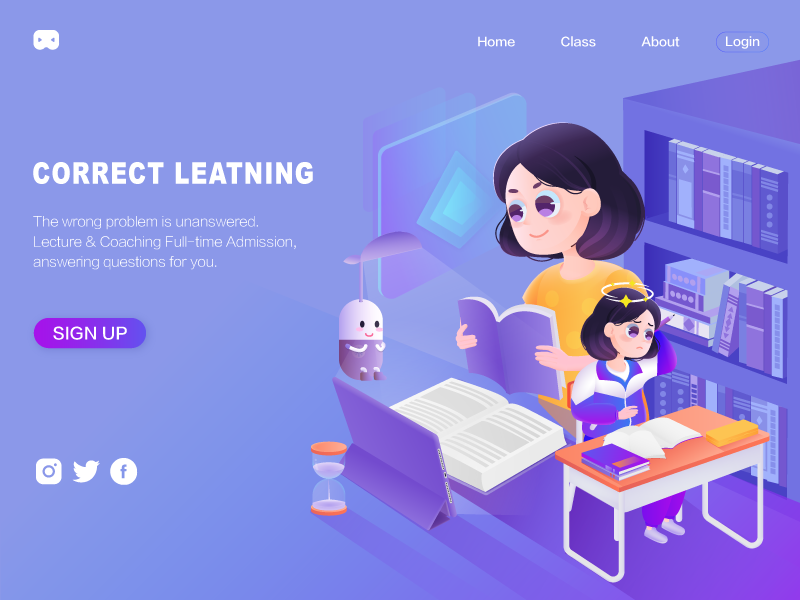 Correct learning biu positive opposition digital media online booking confused online education purple reading girl study method education learn 界面 设计 插图