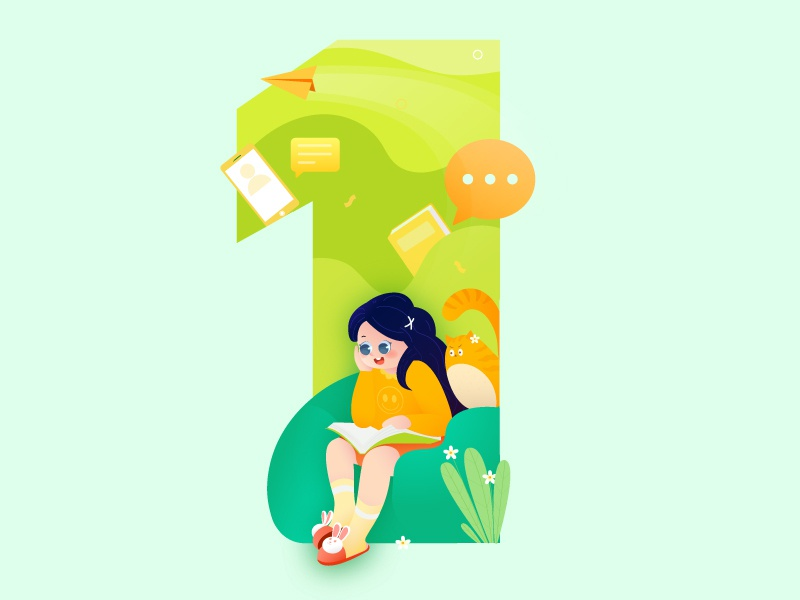 Countdown day cat read green girl 1 days count down 教育 设计 插图