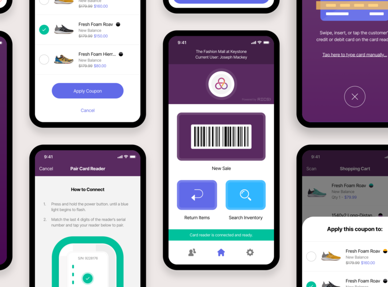 Mobile Point-of-Sale (POS) App barcode scan pay ios iphone mobile checkout point of sale pos retail rics rics illustration ui indianapolis indiana innovatemap