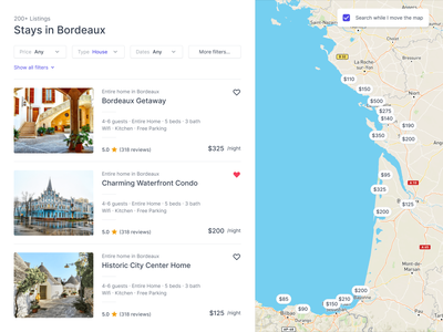 Split View Page Pattern ecommerce travel house search map booking airbnb split screen splitscreen split view view split ui innovatemap indianapolis indiana