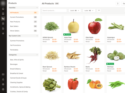 Product Search Grid search filter list retail pricing wholesale grocery platform platform supplier distributor grocery shop ecommerce product data table dashboard ui innovatemap indianapolis indiana