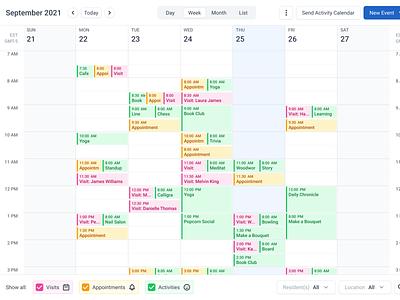 Weekly Calendar date picker create activity create event activity event weekly calendar week view date calendar dashboard ui innovatemap indianapolis indiana