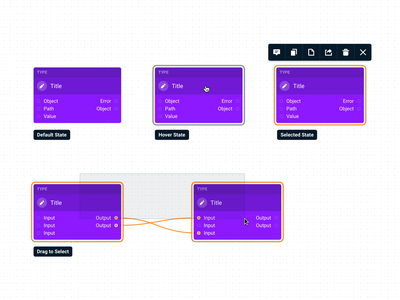 Canvas Node States contextual menu connector connection output input component flow step workflow builder node canvas ui indianapolis indiana innovatemap