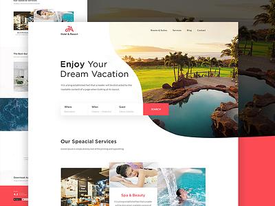 Hotel & Resort Landing page spa summer holyday vacation resort hotel landing page hotel booking user interface design ui design website