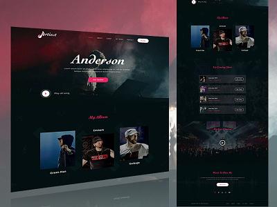 Artist Landing page balck music album webdesign ux ui portfolio musician lanidng page atrist  band  booking
