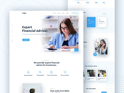 Financial Advisor Landing Page advisory advisor financial advisor landing page financial services financial advisor finance company finance companies agency white and blue minimal homepage clean landing page website ux ui