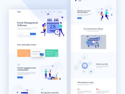 Saas-Event Management Software Landing page saas landing page agency landing page agency minimal illustration management management information system saas event management event homepage website clean landing page ux ui