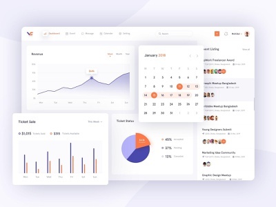 Event management - Dashboard event management event app analytics dashboard analytic app chat dashbaord user experience user interface web clean ux