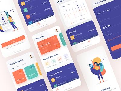 Banking App Concept financial app transaction banking app bank app illustration minimal design clean ux ui
