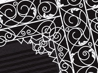 Close up of ironwork illustration from French Quarter balcony