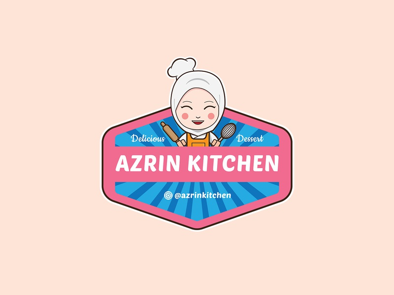 Azrin Kitchen Logo vector cookies cake logo illustration flat design branding logo