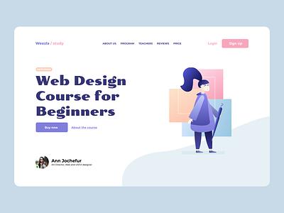 Service for online course concept art minimal landing page design landing page landing ux ui design concept
