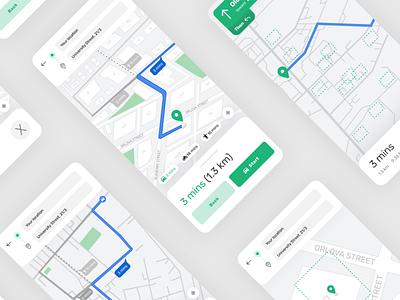 Navigation flow: map view UI/UX for app figmadesign webdesign ux uiux uxui ui product design web mobile saas service app