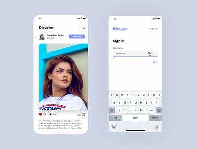 App for blogers UI concept application productdesign service mobile minimal design ux ui concept art app design concept app