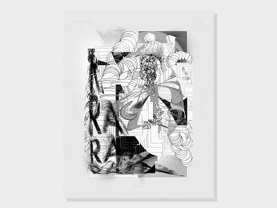 Chaos glitch blackandwhite baugasm design photoshop illustrator illustraton