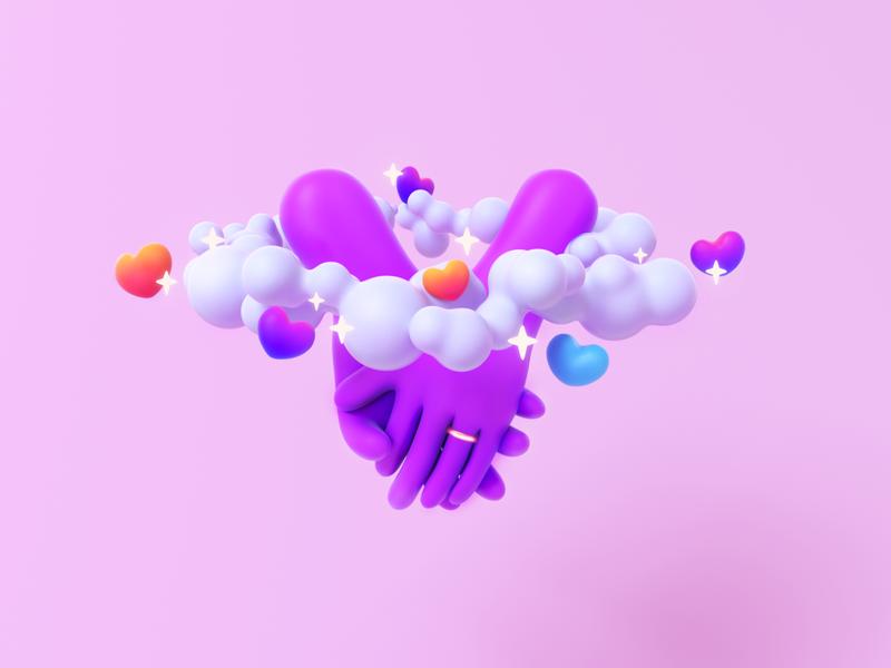 Lovers hand stars happy love cinema4d 3d art design illustration
