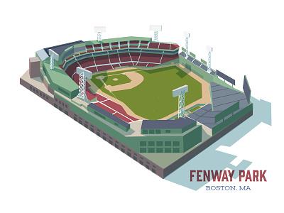 Fenway Park red sox mid-century baseball illustration fenway park