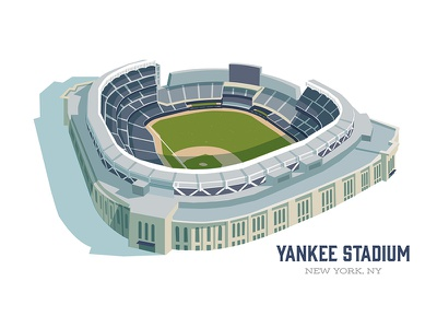 Yankee Stadium yankee stadium yankees baseball mid-century illustration