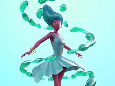 Ballerina Soda pop ballerina dance splash liquid twirl girl 3d character pop soda fluid