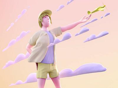 Boy releasing aiplain character design 3d character play boy airplane cartoon