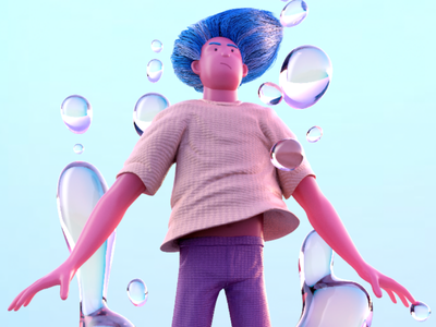 Plunge cgi render swimming 3d character fluid water bubbles