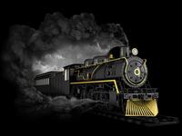 Steam Train on black