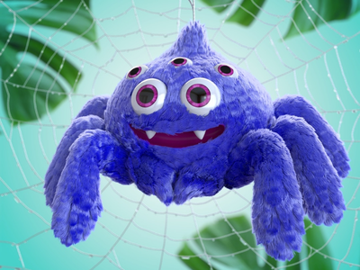 Muppet Spider character illustration character design 3d character toydesign 3d 3d illustration 3d render furry softtoy spider muppet