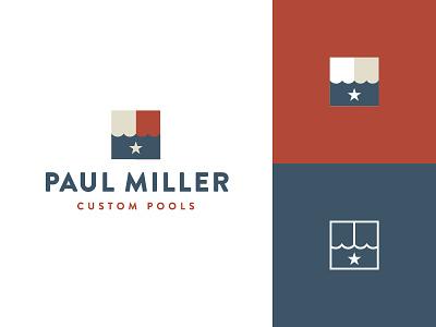 Paul Miller Logo logo pool blue white red branding