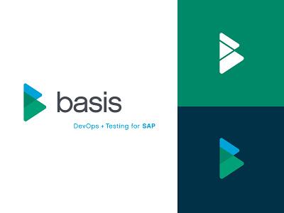 Basis Technologies tech company typography design blue logo branding