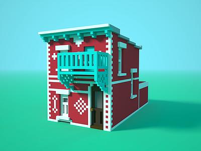 🏠✍️ Little house voxel artwork illustration 3d house voxel