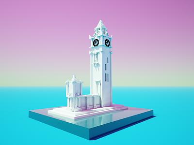 Clocktower voxel art montreal mtl clock artwork illustration 3d voxel