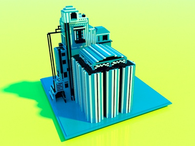 Factory reborn magicavoxel voxel illustration artwork factory